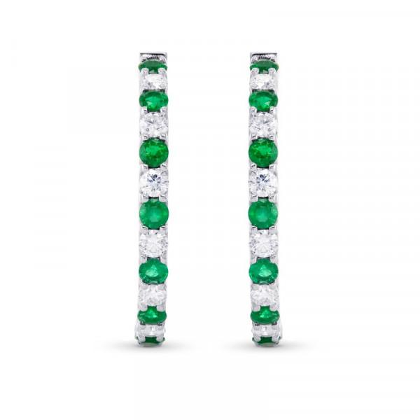 Emerald & Diamond Hoop Earrings (4.30Ct TW)