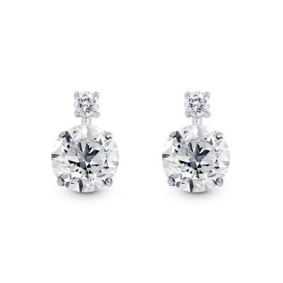 Round Brilliant Diamond Earrings (3.14Ct TW)