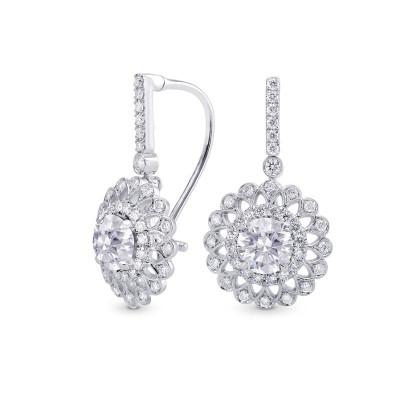 Round Diamond Filigree Floral Halo Drop Earrings (1.90Ct TW)