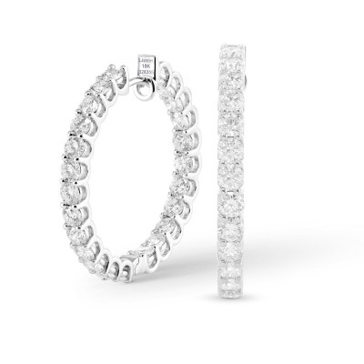 Round Brilliant Hoop Diamond Earrings (4.60Ct TW)