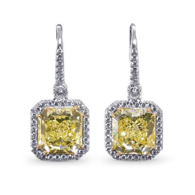 Fancy Yellow Radiant Halo Diamond Earrings (10.07Ct TW)