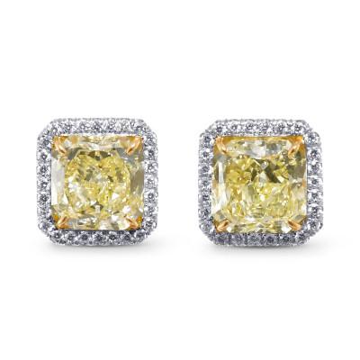 Fancy Yellow Radiant Shape Diamond Halo Earrings (7.06Ct TW)