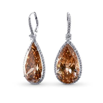 Extraordinary Fancy  Deep Brown Yellow Pear Shape Halo Diamond Earrings (42.46Ct TW)