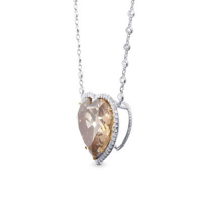 Extraordinary Fancy Brown Yellow Heart Shape Diamond Halo Pendant (55.32Ct TW)