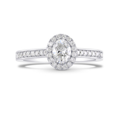 Oval Diamond Halo Ring (0.76Ct TW)