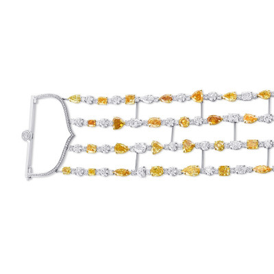 Couture 4 Row Mix Color and White Diamond Bracelet. (36.48Ct TW)