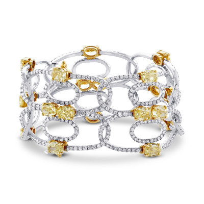 Fancy Intense Yellow and Collection Diamonds Couture Cuff (28.68Ct TW)