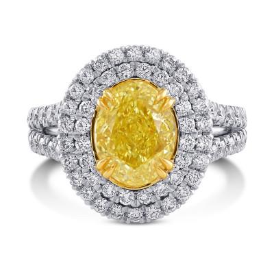 Fancy Intense Yellow Double Halo Diamond Ring (3.66Ct TW)