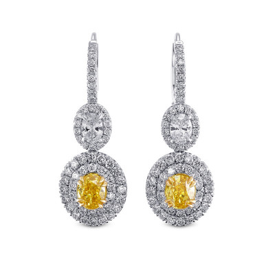 Fancy Vivid Yellow Drop Halo Diamond Earrings (4.11Ct TW)