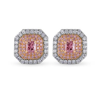 Exceptional Fancy Deep Pink Radiant Triple Halo Diamond Earrings (1.01Ct TW)