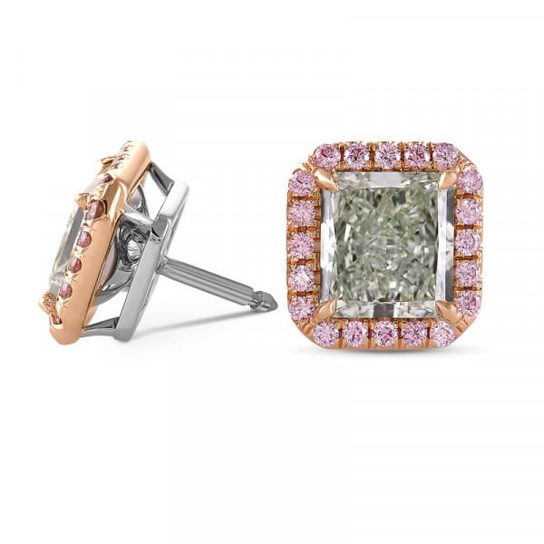 Exceptional Radiant Shape Fancy Green Halo Diamond Earrings (3.95Ct TW)