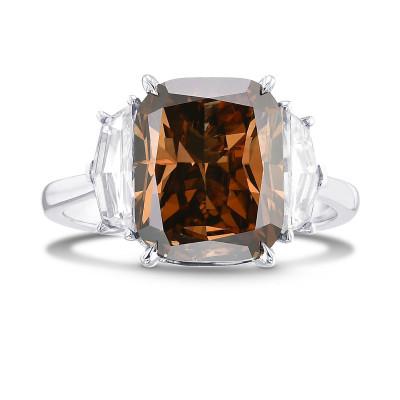 Fancy Dark Orangy Brown Cushion Diamond 3 Stone Ring (6.15Ct TW)