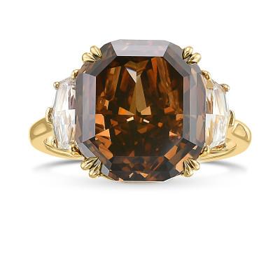 Fancy Dark Orangy Brown Radiant  Diamond 3 Stone Ring (7.70Ct TW)