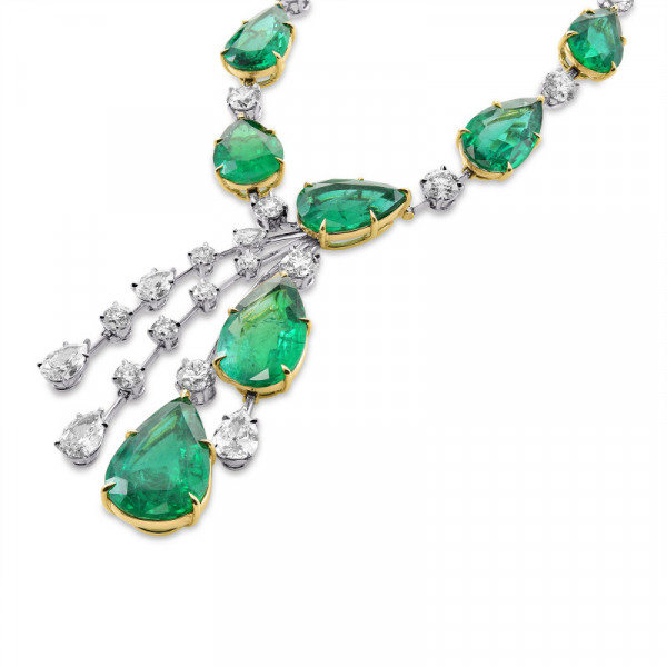 Extraordinary Emerald and Diamond Drop Necklace (96.91Ct TW)