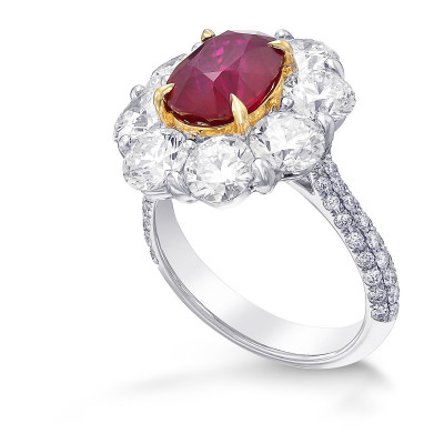 Extraordinary Oval Ruby and Diamond Floral Halo Ring (6.90Ct TW)