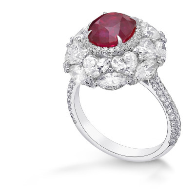 Oval Ruby and Diamond Couture Halo Ring (6.52Ct TW)
