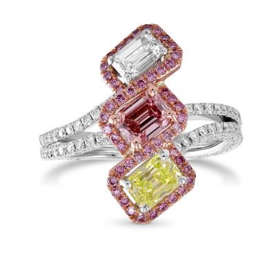 Extraordinary Mix color Three Stone Diamond Halo Ring (2.22Ct TW)