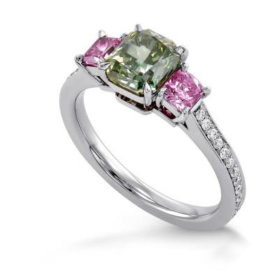 Exceptional Fancy Vivid Yellow Green Radiant 3 Stone stone Diamond Ring (2.12Ct TW)