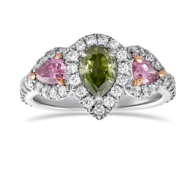 Exceptional Fancy Vivid Yellowish Green 3 Stone Halo Diamond Ring. (1.40Ct TW)