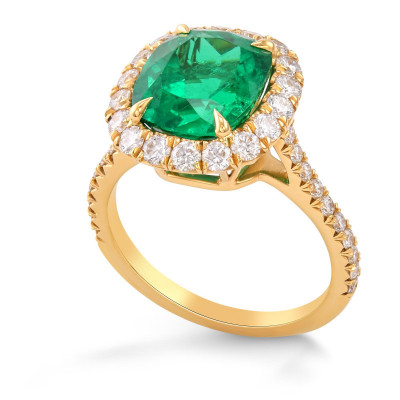 Cushion Shape Colombian Emerald and Diamond Halo Ring (4.30Ct TW)
