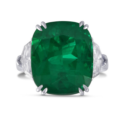 Exceptional Cushion Emerald and Diamond Three Stone Ring (13.30Ct TW)