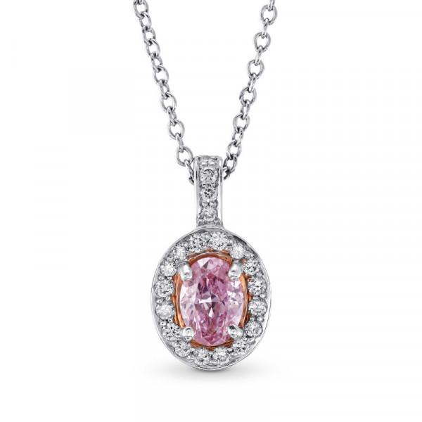 Argyle Fancy Intense Purplish Pink Oval Diamond Halo Pendant (0.43Ct TW)