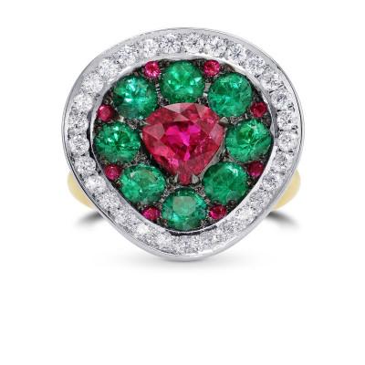 Extraordinary Ruby Emerald & Diamond Ring (4.16Ct TW)