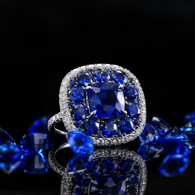 Royal Blue Sapphire and White diamonds Extraordinary Double Halo Ring (8.56Ct TW)
