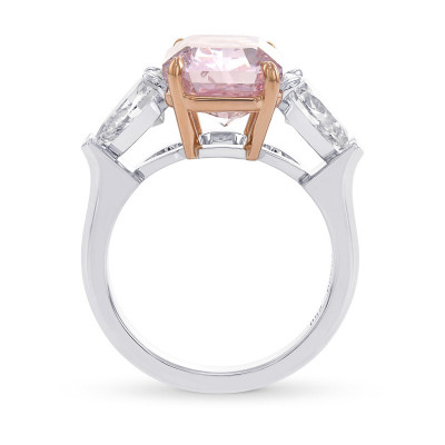 Exceptional Fancy Intense Purple Pink Radiant 3 Stone Diamond Ring (7.52Ct TW)