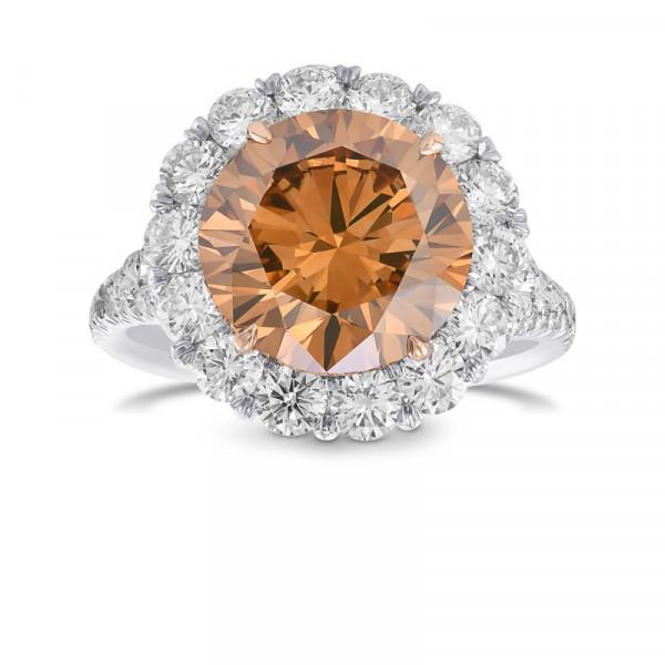 Fancy Deep Brown Orange Brilliant Halo Diamond Ring (6.12Ct TW)