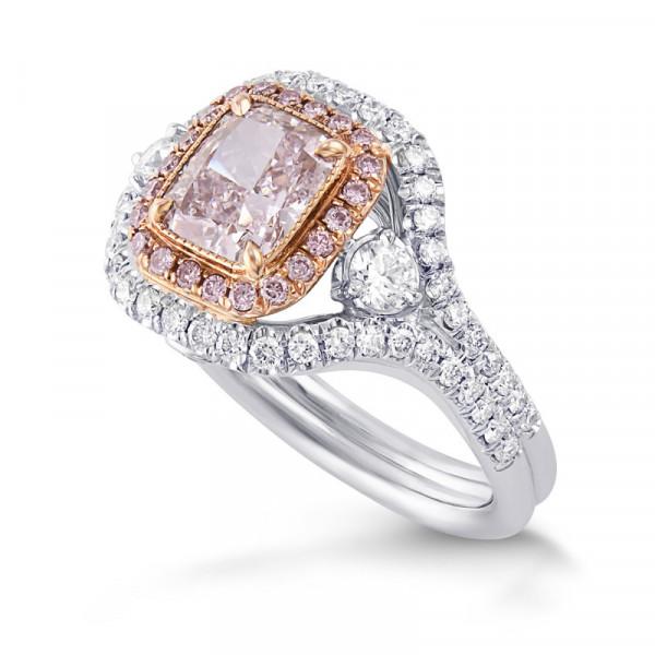Extraordinary Fancy Light Purplish Pink Cushion Double Halo Diamond Ring (2.32Ct TW)