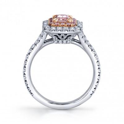 Fancy Intense Pink Radiant Diamond Halo Ring (1.98Ct TW)