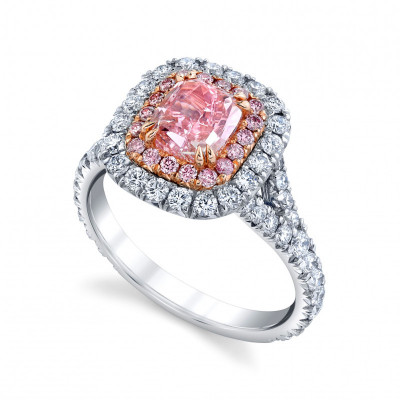 Fancy Intense Purplish Pink Cushion Diamond Halo Ring (2.79Ct TW)