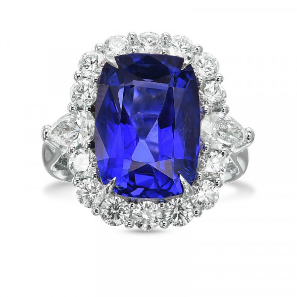 Exceptional No Heat Sapphire and Diamond Halo Side Stone Ring. (9.97Ct TW)
