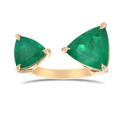 Colombian Emerald 2 stone Trilliant Ring (3.61Ct TW)