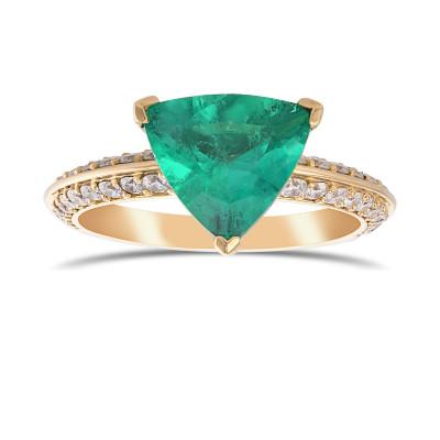 Trilliant Emerald & Diamond Solitaire Ring (2.17Ct TW)
