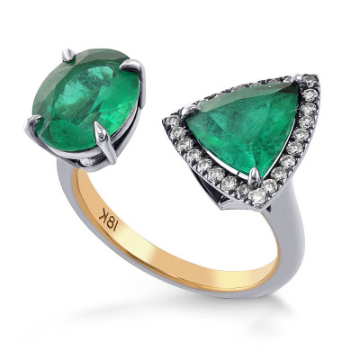Two Stone Trilliant and Oval Emerald Ring (3.12Ct TW)