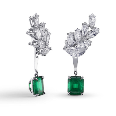 Colombian Emerald & Diamond Detachable Ear Crawler with Emerald Drop (6.61Ct TW)