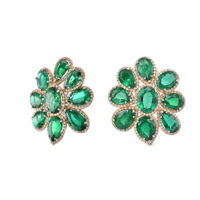 Zambian Emerald & Diamond Flower Earrings (28.62Ct TW)