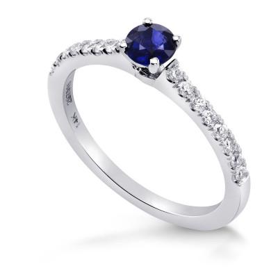 Round Sapphire & Diamond Engagement Ring (0.63Ct TW)