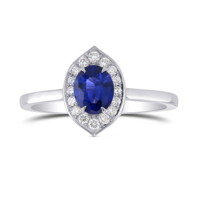 Oval Sapphire and Diamond Halo Ring (0.74Ct TW)