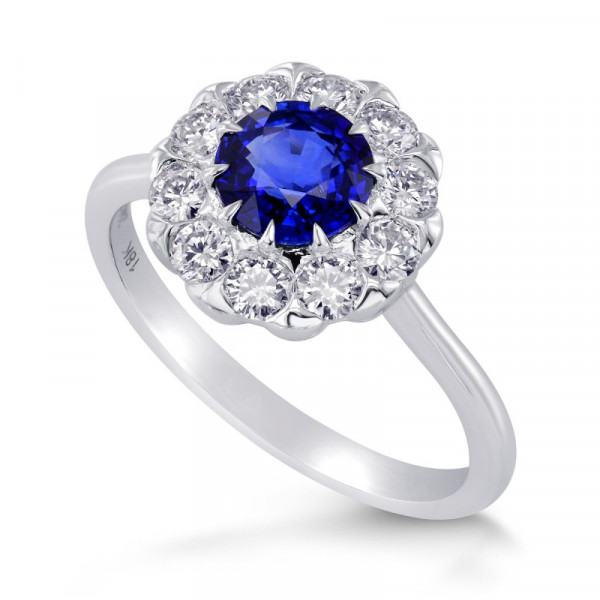 Blue Sapphire and Diamond Floral Design Halo Ring (1.63Ct TW)