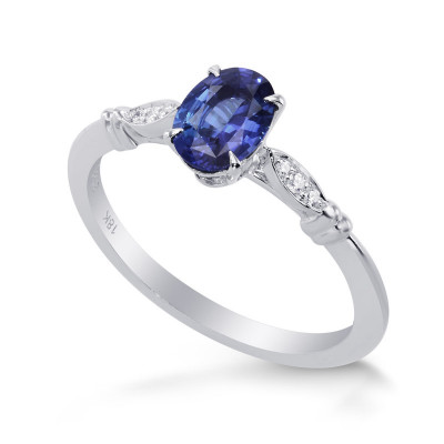 Blue Sapphire and Diamond  Oval Side Stones Ring (0.79Ct TW)