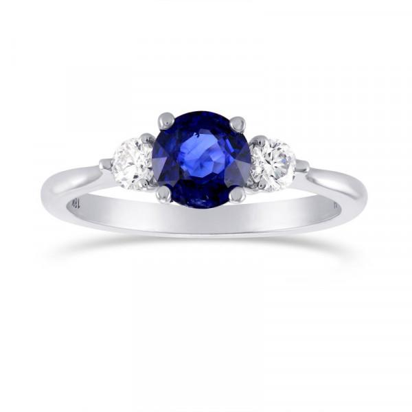 Blue Sapphire and Diamond 3 Stone Ring (1.34Ct TW)