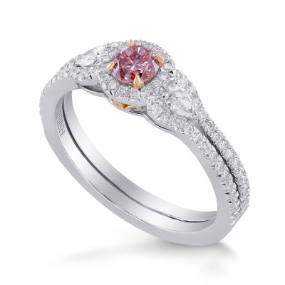 Fancy Intense Purplish Pink Diamond 3 Stones Ring (0.64Ct TW)