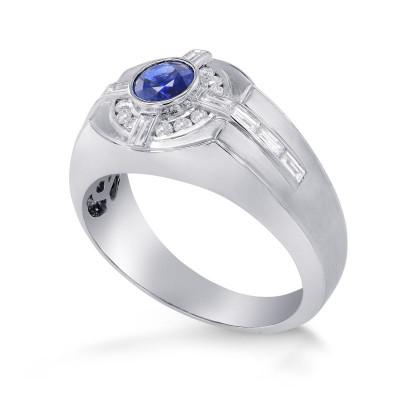 Sapphire and Diamond Round Brilliant Men's Ring (1.33Ct TW)