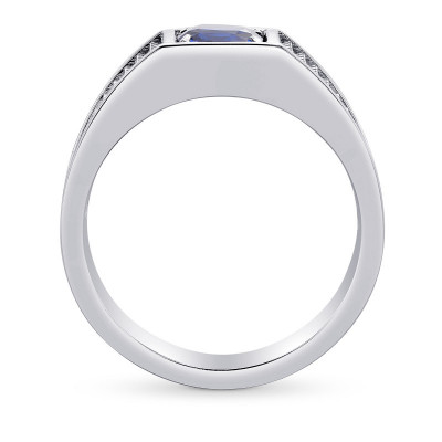 Blue Sapphire Cushion Men's Ring (1.21Ct)