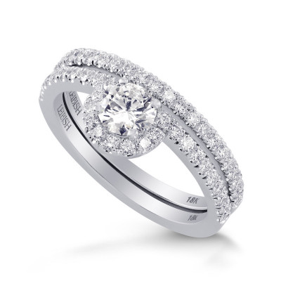 Round Brilliant Wedding Set Ring and Band (1.07Ct TW)