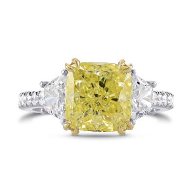 Fancy Yellow Cushion & Trapezoid Diamond Ring (4.29Ct TW)