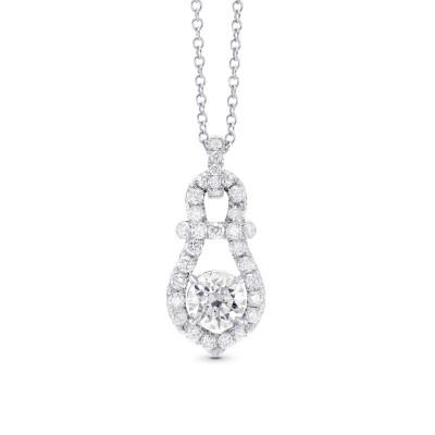 Round Brilliant White Diamond Drop Pendant (0.87Ct TW)